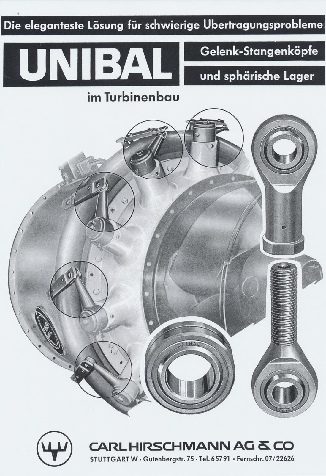 Unibal Lizenzrechte 1957 - 1967. Werbeanzeige