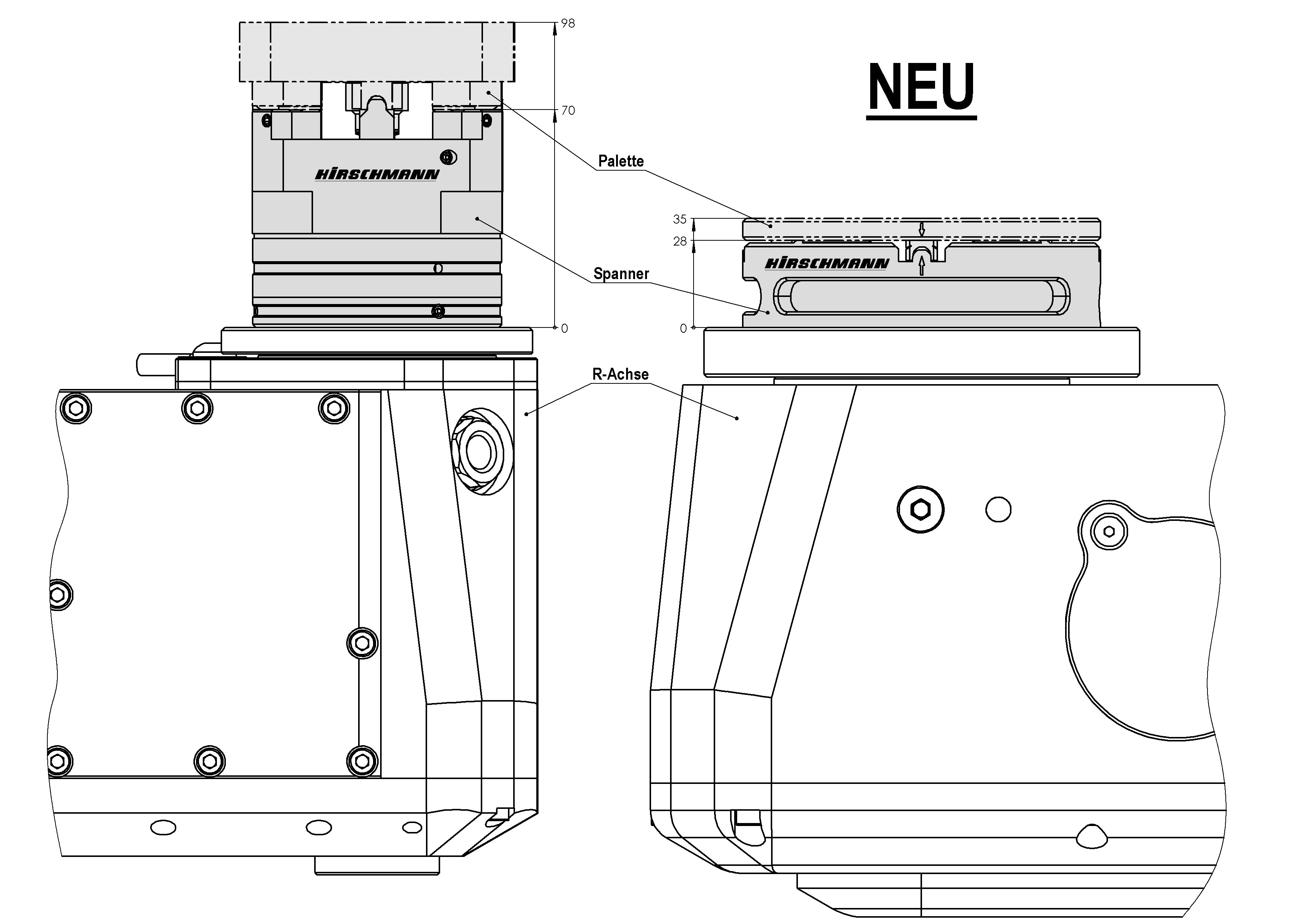 Vergleich des HIRSCHMANN PrixFix-Flat mit einem herkömmlichen Spannsystem